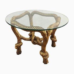 Tavolino da caffè vintage in resina dorata e vetro, anni '80