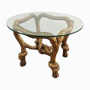 Vintage Golden Resin & Glass Coffee Table, 1980s