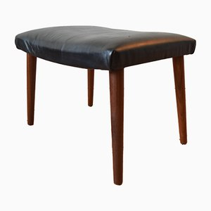 Mid-Century Danish Teak & Leather Footstool, 1960s