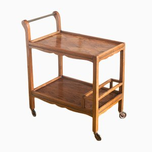 Vintage French Walnut Serving Bar Cart, 1960s