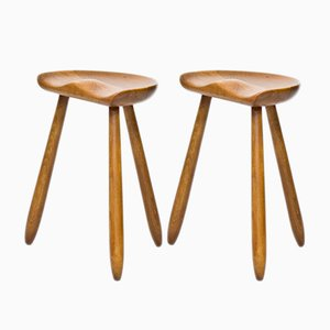 Vintage Danish Beech Milking Stools, 1950s, Set of 2