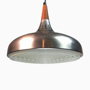 Lámpara de techo danesa de aluminio cepillado y teca, años 60