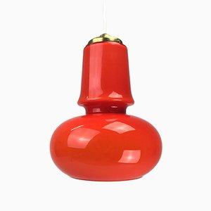 Lámpara de techo danesa naranja de vidrio y latón, años 70