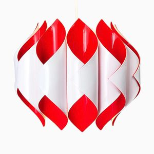 Red & White Geometric Acrylic Ceiling Lamp, 1970s