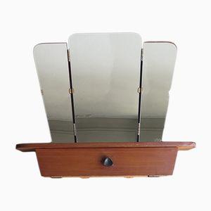 Espejo plegable Mid-Century con compartimento para el maquillaje, años 50