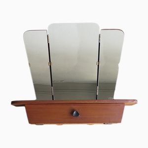 Mid-Century Folding Mirror with Make Up Compartment, 1950s