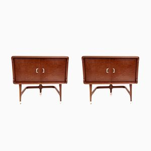 Italian Mahogany Pomelè Nightstands by Carlo de Carli, 1950s, Set of 2