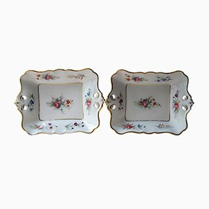 Antique Parisian Porcelain Presentation Dishes, 1880s, Set of 2
