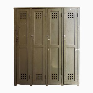 Mid-Century Row of 4 Green Military Lockers