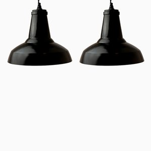 Vintage Industrial Black Pendant Lamps, 1950s, Set of 2