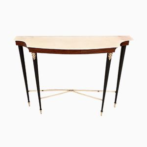 Rosewood Console Table with Portuguese Pink Marble Top, 1950s