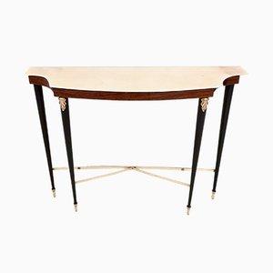 Table Console en Palissandre avec Plateau en Marbre Rose Portugais, 1950s