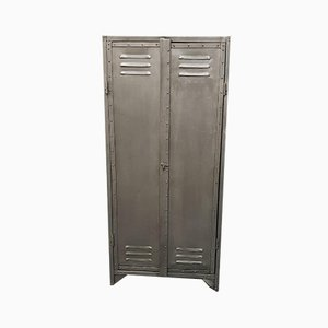 Vintage Industrial Two-Door Riveted Metal Cabinet