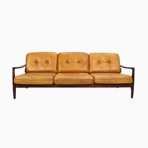 Cognacfarbenes Vintage 3-Sitzer Sofa aus Leder, 1960er