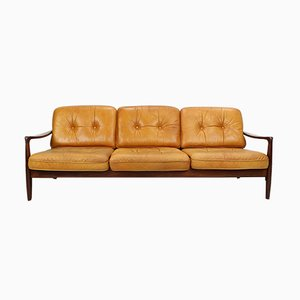 Vintage Cognac Leather Three-Seat Sofa, 1960s