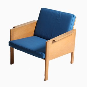 Mid-Century Oak and Cane Lounge Chair, 1960s