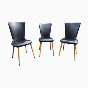 Mid-Century Esszimmerstühle mit Bezug aus Kunstleder, 1960er, 3er Set