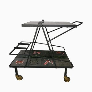 Vintage Ceramic Tile & Metal Trolley, 1950s