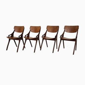 Sedie da pranzo in teak di Arne Hovmand Olsen per Mogens Kold, Danimarca, anni '60, set di 4