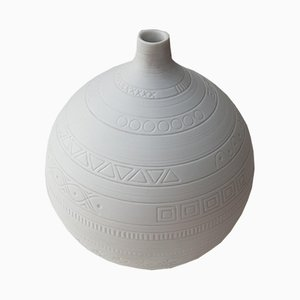 Jarrón esférico de porcelana biscuit de Hans Achtziger para Hutschenreuther, años 60