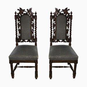 Antike geschnitzte Holzstühle, 1880er, 2er Set