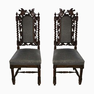 Antique Carved Wooden Chairs, 1880s, Set of 2