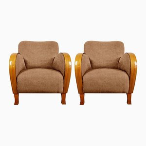 Personalisierbare Art Deco Sessel aus Kirschholz, 1940er, 2er Set