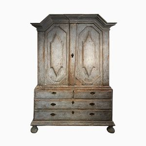 Antique Swedish Cabinet with Carved Pediment, 1780s