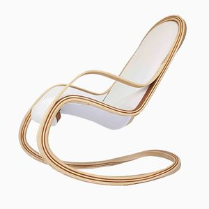 Flect American Cherry & Ash Rocking Chair with White Stain-Resistant Upholstery by Andrés Mariño Maza