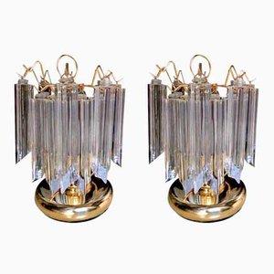 Lámparas de mesa vintage de cristal de Murano de Ercole Barovier, años 80. Juego de 2
