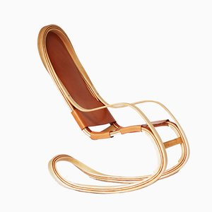 Flect American Cherry & Ash Rocking Chair with Spanish Leather by Andrés Mariño Maza