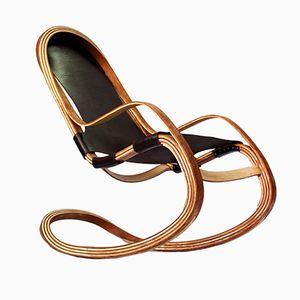 Rocking Chair Flect en Merisier & en Frêne avec Harnais en Cuir Espagnol par Andrés Mariño Maza
