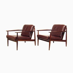 Danish Mahogany & Leather Lounge Chairs by Arne Vodder for Glostrup, 1960s, Set of 2