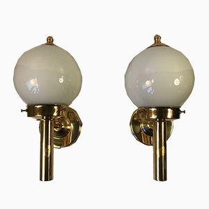 Lámparas de pared náuticas vintage de vidrio y latón de Abo Randers, años 70. Juego de 2