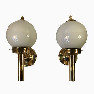 Vintage Brass & Glass Nautical Wall Lights from Abo Randers, 1970s, Set of 2