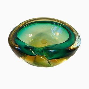 Sommerso Schale aus grünen & gelbem Muranoglas, 1960er
