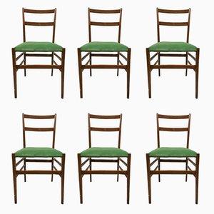 Italienische Superleggera Esszimmerstühle von Gio Ponti für Cassina, 1960er, 6er Set
