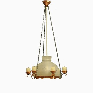 Lampada vintage in vetro e rame