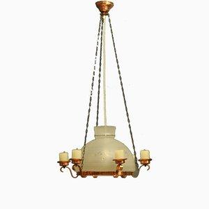 Lámpara vintage de vidrio y cobre