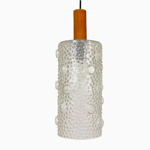 Large Cylindrical Bubbled Glass Pendant Lamp, 1960s