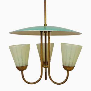 Italian Triple Sconce Ceiling Light, 1950s