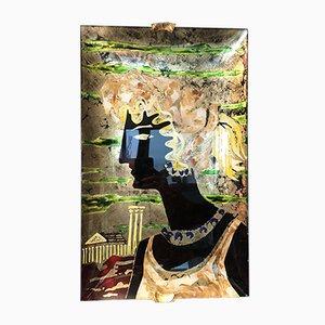 Pintura Reverse con vidrio curvada de Haeti para Santambrogio & De Berti, años 50