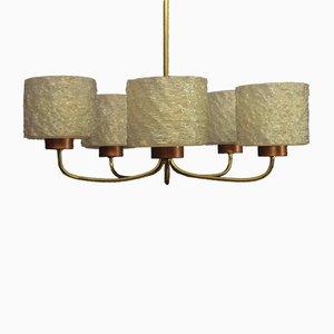 Lámpara colgante danesa Mid-Century de cobre y latón