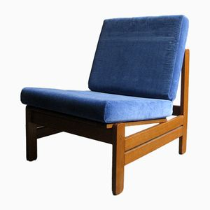 Mid-Century Danish Oak Easy Chair with Blue Velvet