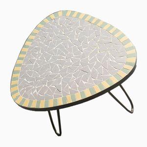 Petite Table d'Appoint Mid-Century en Laiton et Céramique