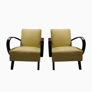 Gelbe Sessel mit Gestell aus Bugholz von Jindrich Halabala für Thonet, 1930er, 2er Set