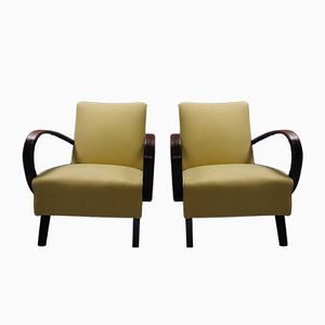 Yellow Bentwood Armchairs by Jindrich Halabala for Thonet, 1930s, Set of 2