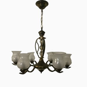 Mid-Century Chandelier with 6 Glass Floral Shades