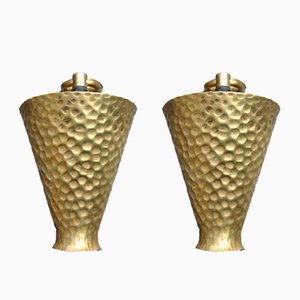 Hammered Brass Wall Lights, 1960s, Set of 2