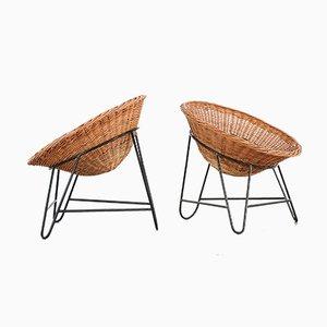 Moderne dreibeinige Sessel mit Sitzschale aus Korbgeflecht von Mathieu Matégot, 1950er